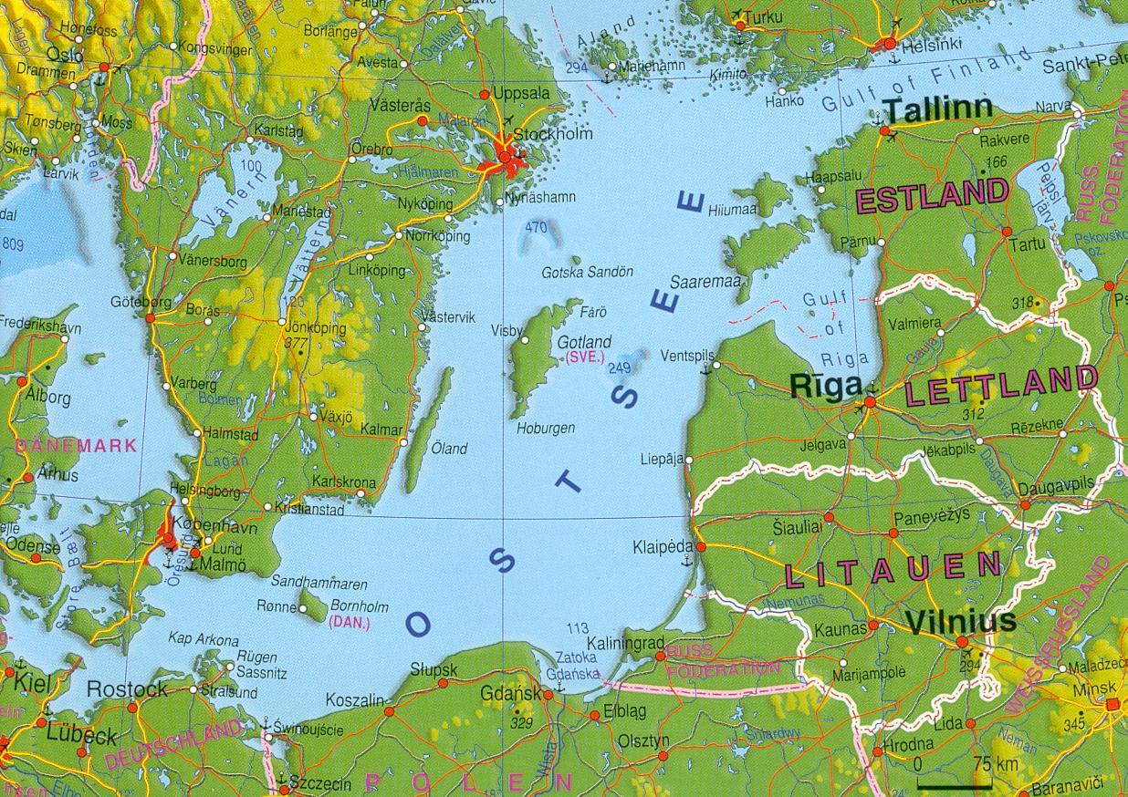 Karte Ostseeküste Deutsch.Estland 2003